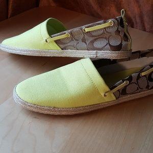Summer Yellow Coach Canvas Espadrille flats🌞